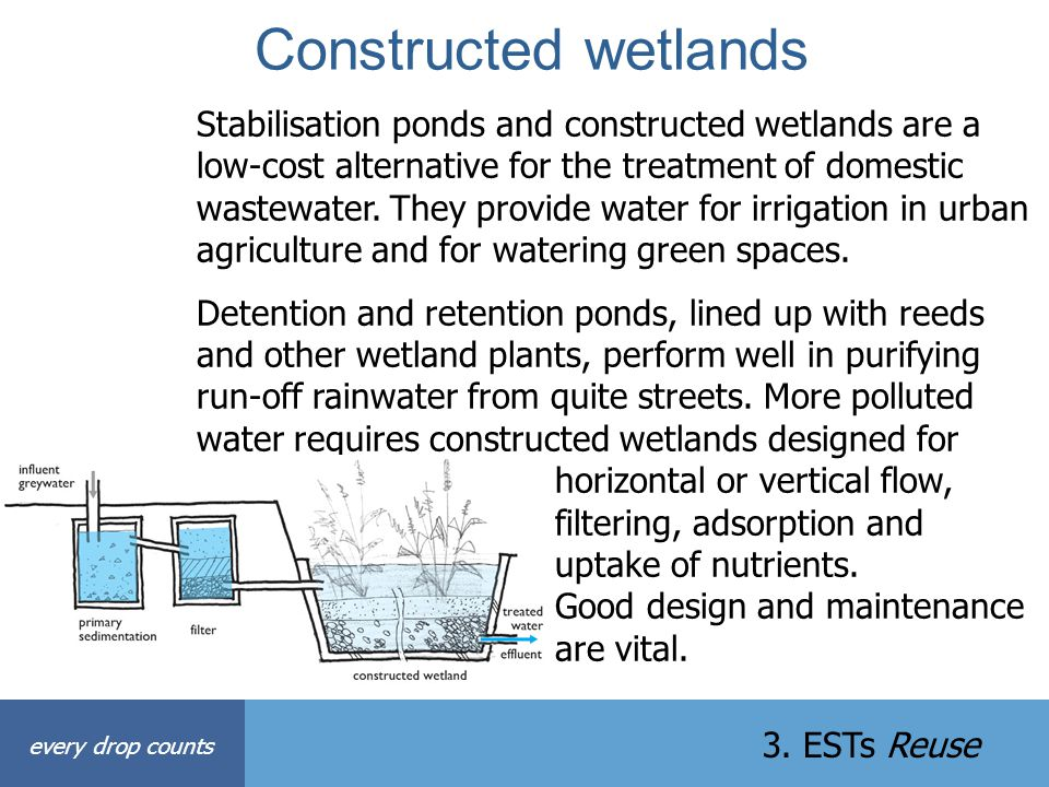 Constructed wetlands every drop counts 3. ESTs Reuse Stabilisation ponds and constructed wetlands are a low-cost alternative for the treatment of dome