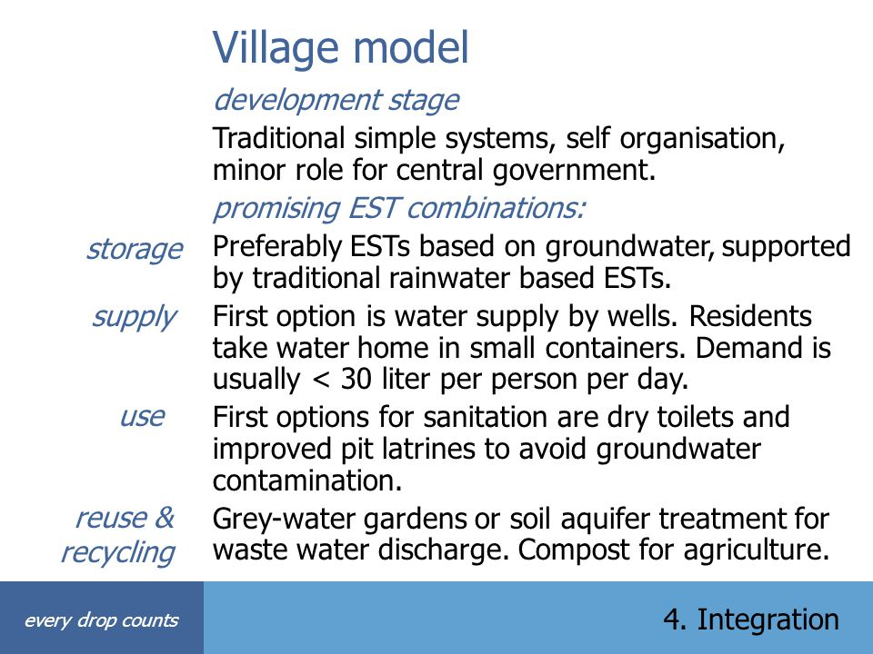 Village model every drop counts 4. Integration development stage Traditional simple systems, self organisation, minor role for central government. pro