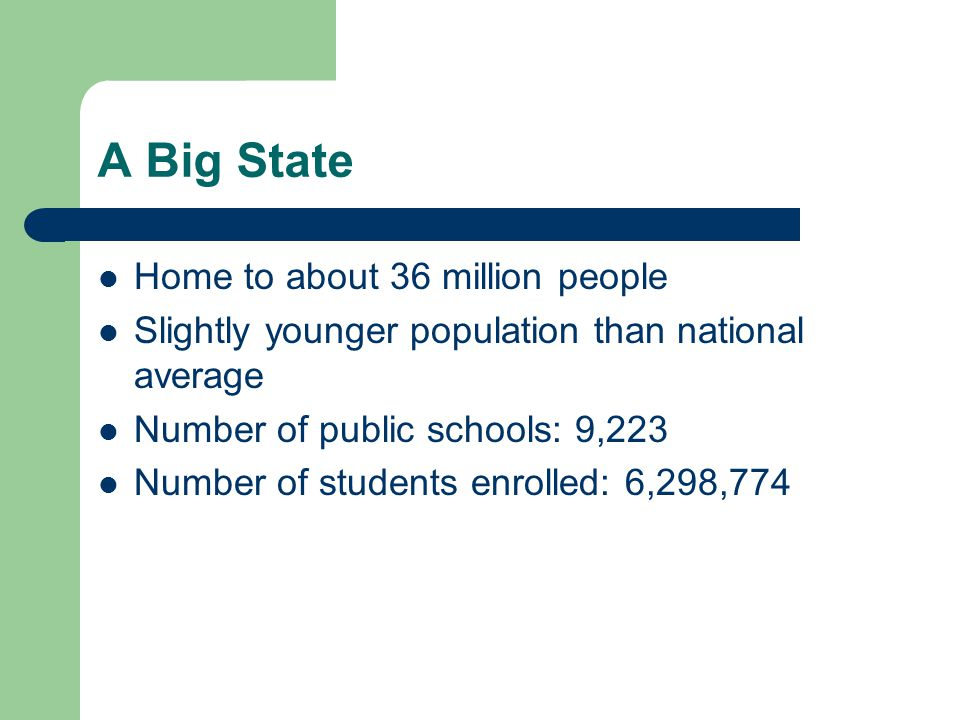Home to about 36 million people Slightly younger population than national average Number of public schools: 9,223 Number of students enrolled: 6,298,774