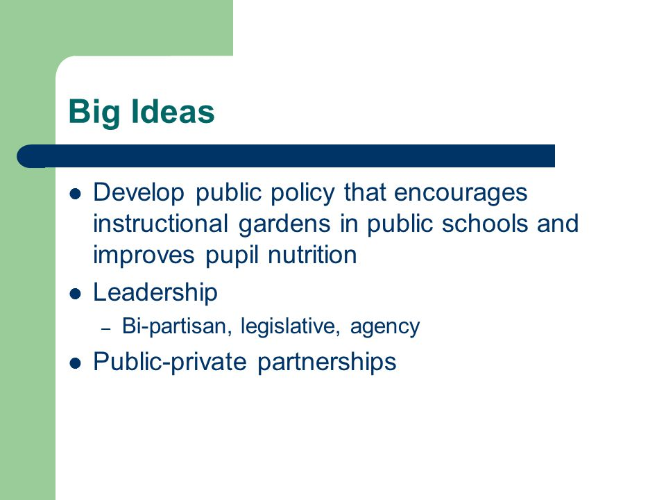 Big Ideas Develop public policy that encourages instructional gardens in public schools and improves pupil nutrition Leadership – Bi-partisan, legislative, agency Public-private partnerships