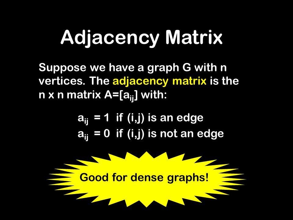 Adjacency Matrix Suppose we have a graph G with n vertices. The adjacency matrix is the n x n matrix A=[a ij ] with: a ij = 1 if (i,j) is an edge a ij