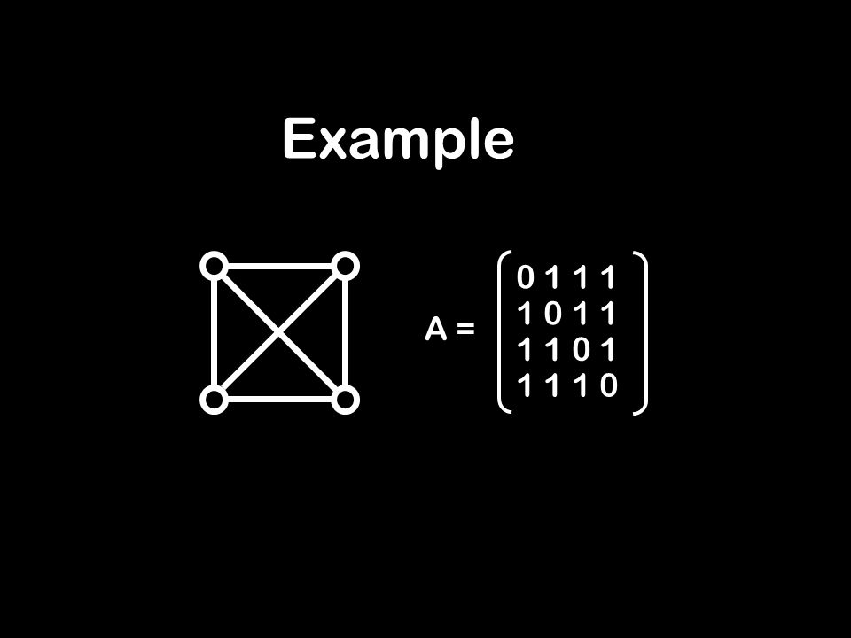 Example A = 0 1 1 1 1 0 1 1 1 1 0 1 1 1 1 0