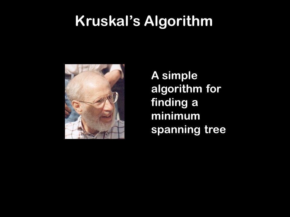 Kruskal's Algorithm A simple algorithm for finding a minimum spanning tree