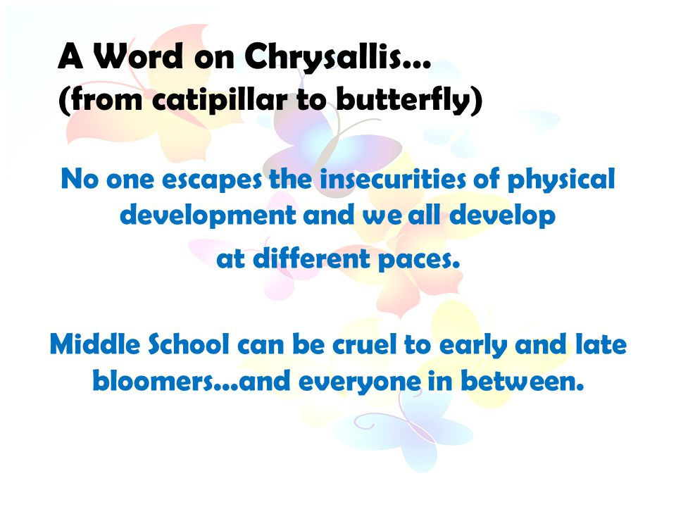 A Word on Chrysallis…. (from catipillar to butterfly) No one escapes the insecurities of physical development and we all develop at different paces. M