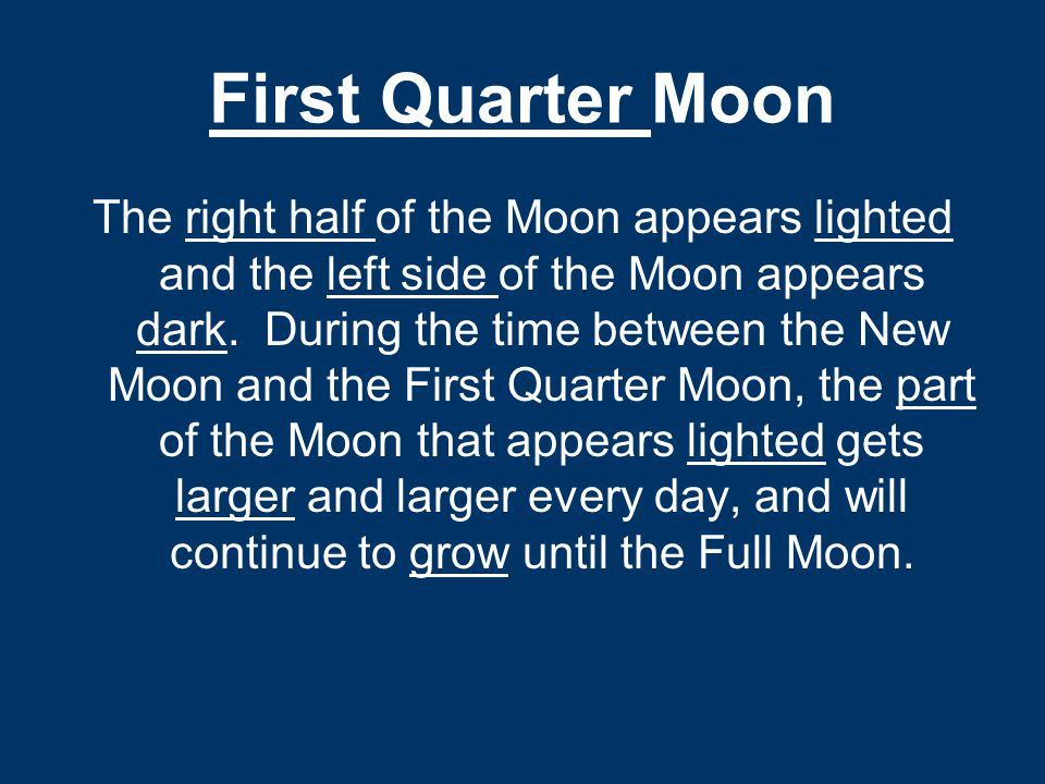 First Quarter Moon The right half of the Moon appears lighted and the left side of the Moon appears dark. During the time between the New Moon and the