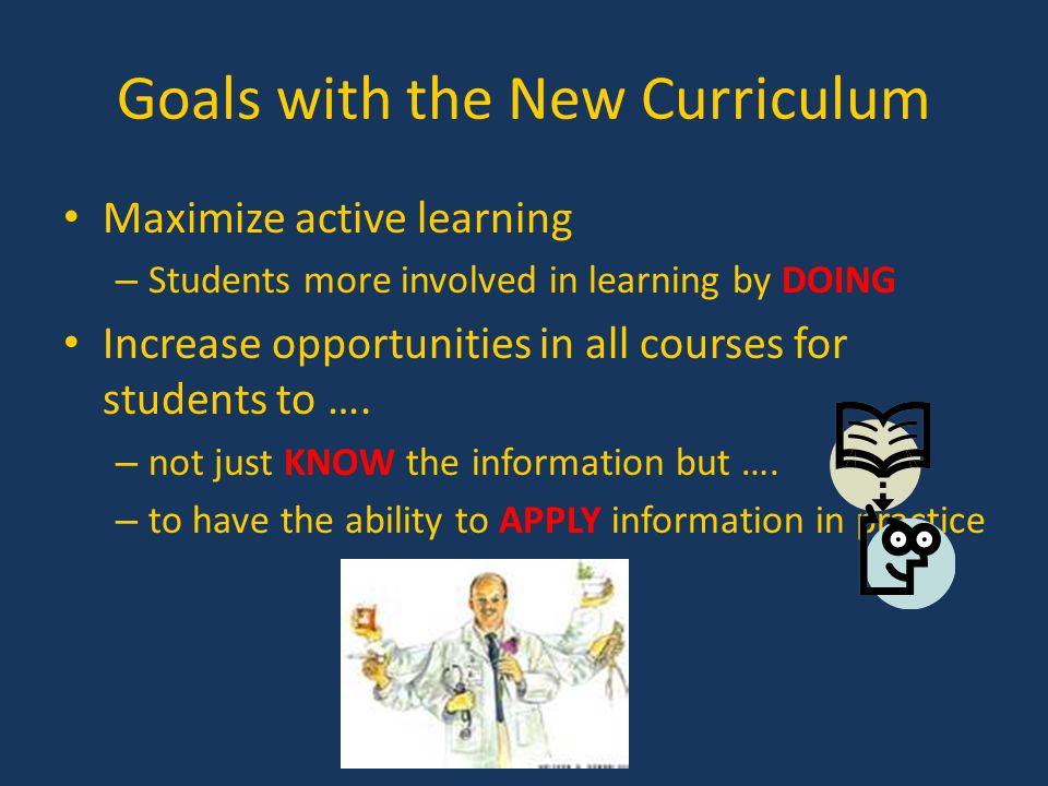 Goals with the New Curriculum Maximize active learning – Students more involved in learning by DOING Increase opportunities in all courses for student
