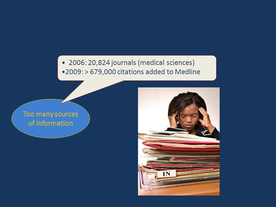 Too many sources of information 2006: 20,824 journals (medical sciences) 2009: > 679,000 citations added to Medline