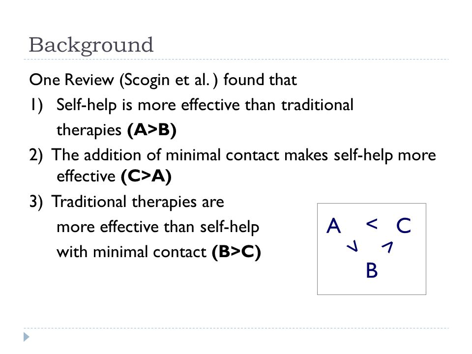 One Review ( Scogin et al. ) found that 1)Self-help is more effective than traditional therapies (A>B) 2) The addition of minimal contact makes self-h