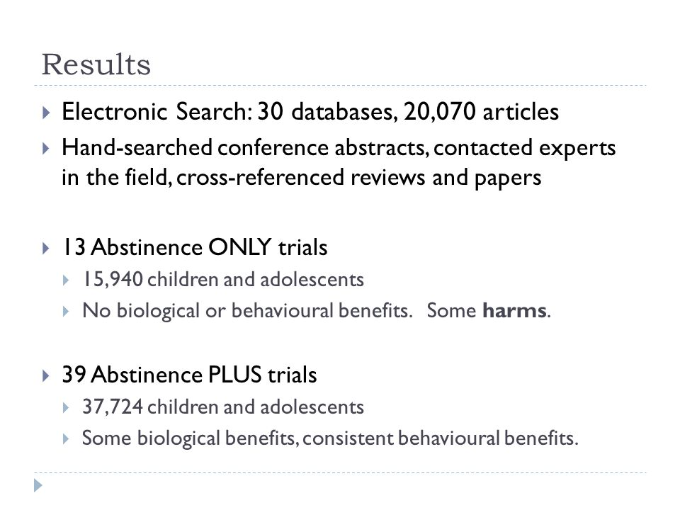 Results  Electronic Search: 30 databases, 20,070 articles  Hand-searched conference abstracts, contacted experts in the field, cross-referenced revi