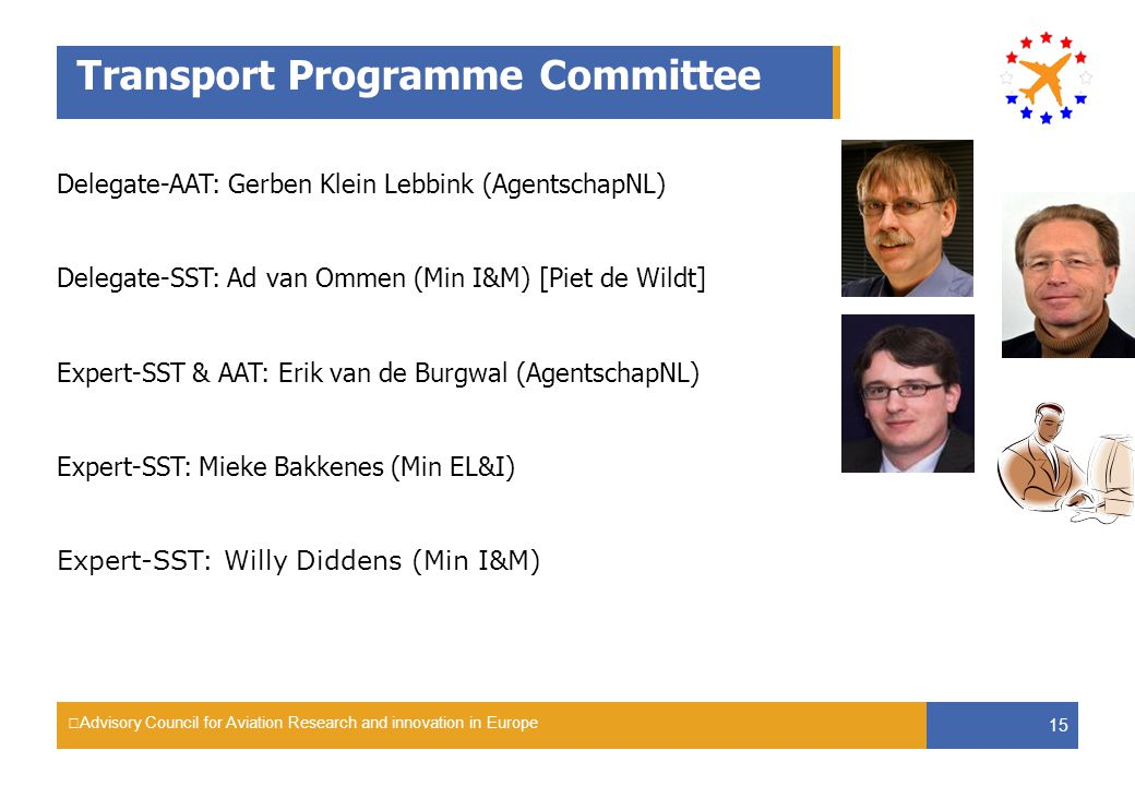 Advisory Council for Aviation Research and innovation in Europe 15 Transport Programme Committee Delegate-AAT: Gerben Klein Lebbink (AgentschapNL) Del