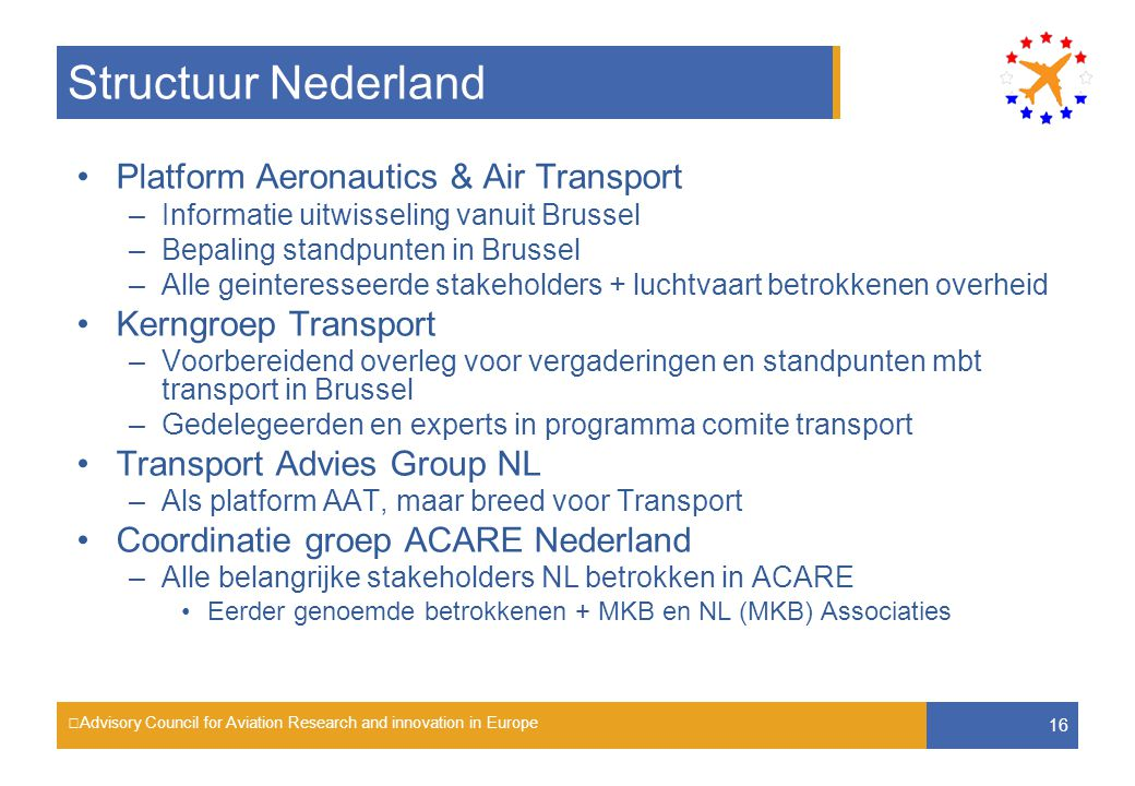Advisory Council for Aviation Research and innovation in Europe 16 Structuur Nederland Platform Aeronautics & Air Transport –Informatie uitwisseling v