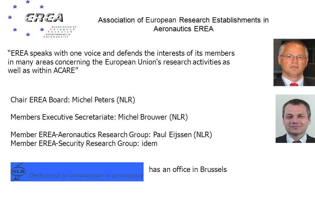 Chair EREA Board: Michel Peters (NLR) Members Executive Secretariate: Michel Brouwer (NLR) Member EREA-Aeronautics Research Group: Paul Eijssen (NLR) Member EREA-Security Research Group: idem has an office in Brussels Association of Research Establishments in Aeronautics EREA Association of European Research Establishments in Aeronautics EREA EREA speaks with one voice and defends the interests of its members in many areas concerning the European Union s research activities as well as within ACARE