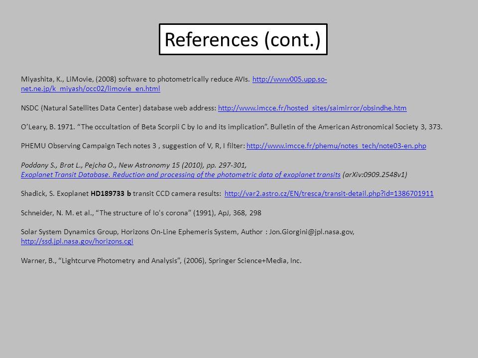 Miyashita, K., LiMovie, (2008) software to photometrically reduce AVIs. http://www005.upp.so- net.ne.jp/k_miyash/occ02/limovie_en.htmlhttp://www005.up