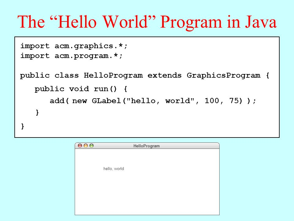 The Hello World Program in Java import acm.graphics.*; import acm.program.*; public class HelloProgram extends GraphicsProgram { public void run() { add( new GLabel( hello, world , 100, 75) ); } HelloProgram hello, world import acm.graphics.*; import acm.program.*; public class HelloProgram extends GraphicsProgram { public void run() { add( new GLabel( hello, world , 100, 75) ); }
