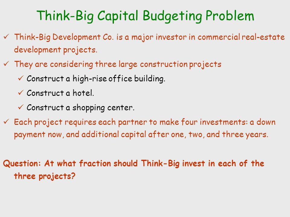 Think-Big Capital Budgeting Problem Think-Big Development Co.