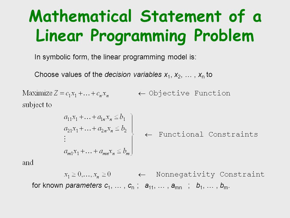 Mathematical Statement of a Linear Programming Problem In symbolic form, the linear programming model is: Choose values of the decision variables x 1, x 2, …, x n to for known parameters c 1, …, c n ; a 11, …, a mn ; b 1, …, b m.