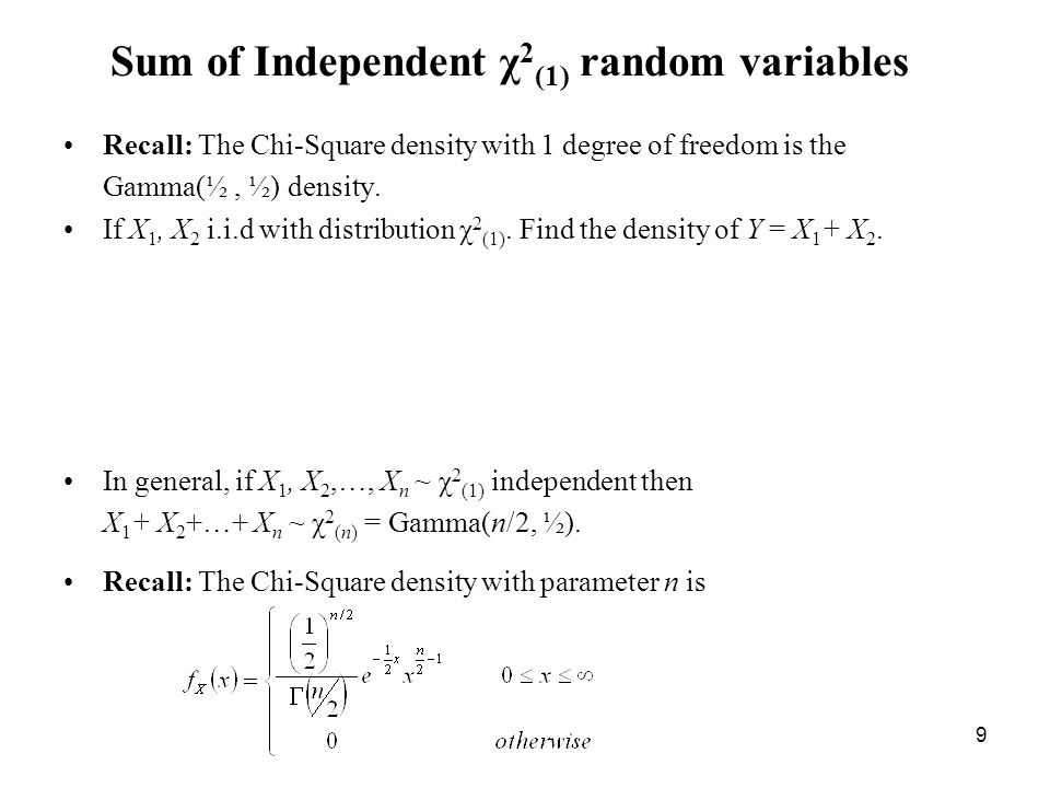 9 Sum of Independent χ 2 (1) random variables Recall: The Chi-Square density with 1 degree of freedom is the Gamma(½, ½) density.