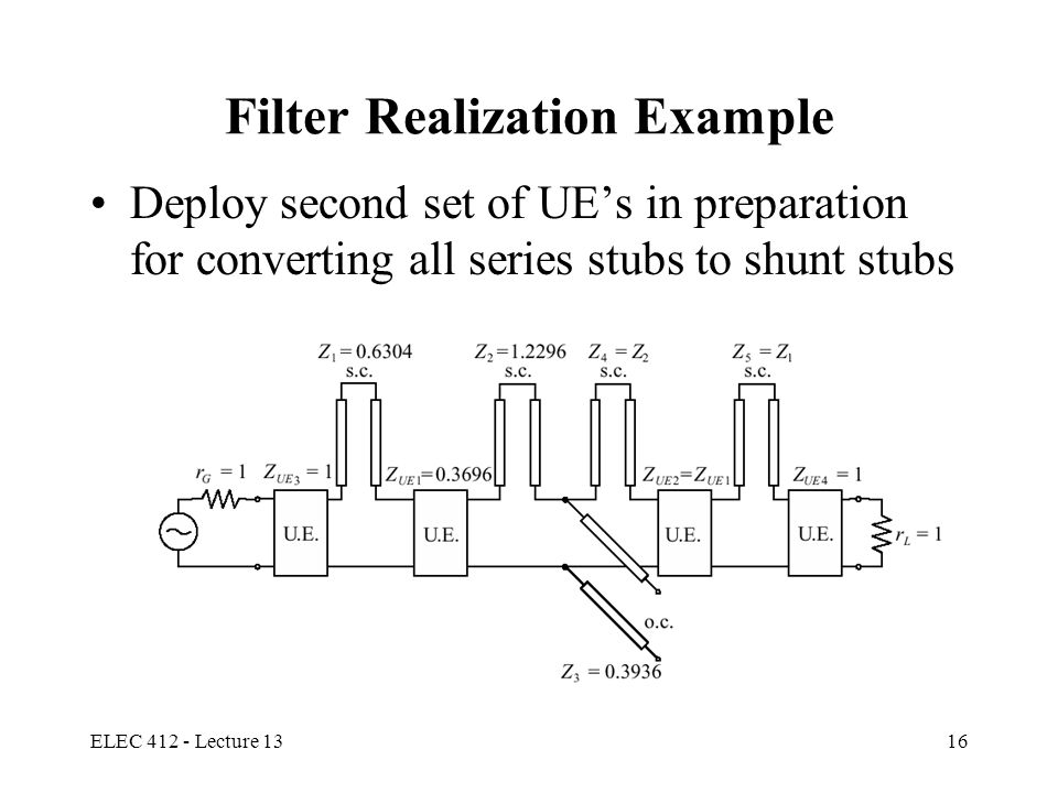 ELEC 412 - Lecture 1316 Filter Realization Example Deploy second set of UE's in preparation for converting all series stubs to shunt stubs