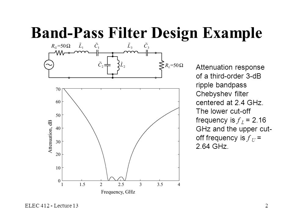 ELEC 412 - Lecture 133 RF/  W Stripline Filters Filter components become impractical at frequencies higher than 500 MHz Can apply the normalized low pass filter tables for lumped parameter filters to stripline filter design Richards Transformation and Kuroda's Identities are used to convert lumped parameter filter designs to distributed filters