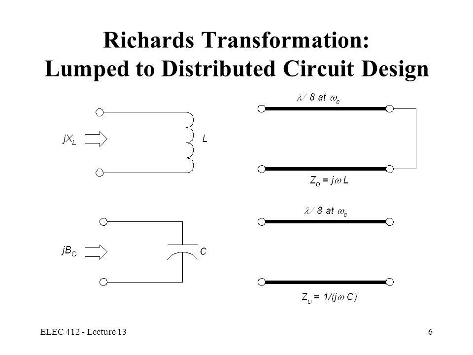 ELEC 412 - Lecture 137 Unit Elements : UE Separation of transmission line elements achieved by using Unit Elements (UEs) UE electrical length:  =  /4 UE Characteristic Impedance Z UE