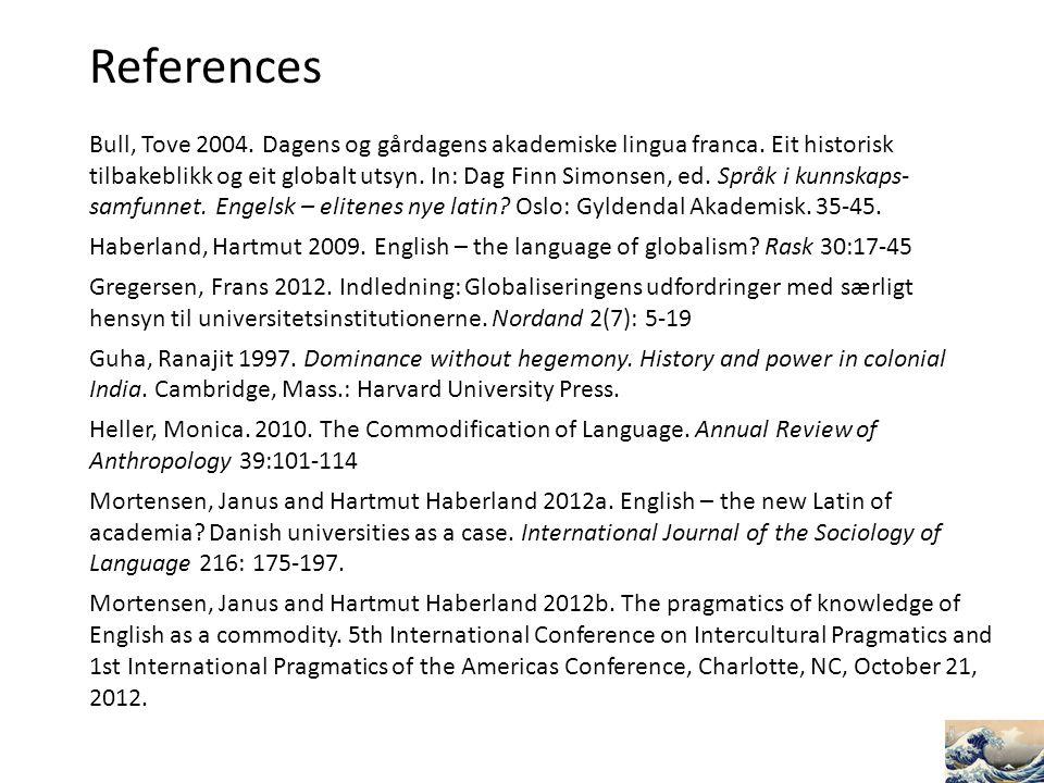 References Bull, Tove 2004. Dagens og gårdagens akademiske lingua franca. Eit historisk tilbakeblikk og eit globalt utsyn. In: Dag Finn Simonsen, ed.