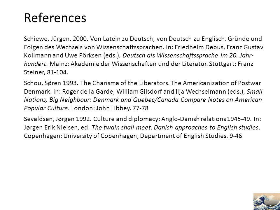 References Schiewe, Jürgen. 2000. Von Latein zu Deutsch, von Deutsch zu Englisch. Gründe und Folgen des Wechsels von Wissenschaftssprachen. In: Friedh