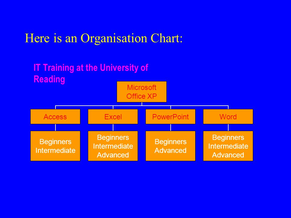 Here is an Organisation Chart: IT Training at the University of Reading