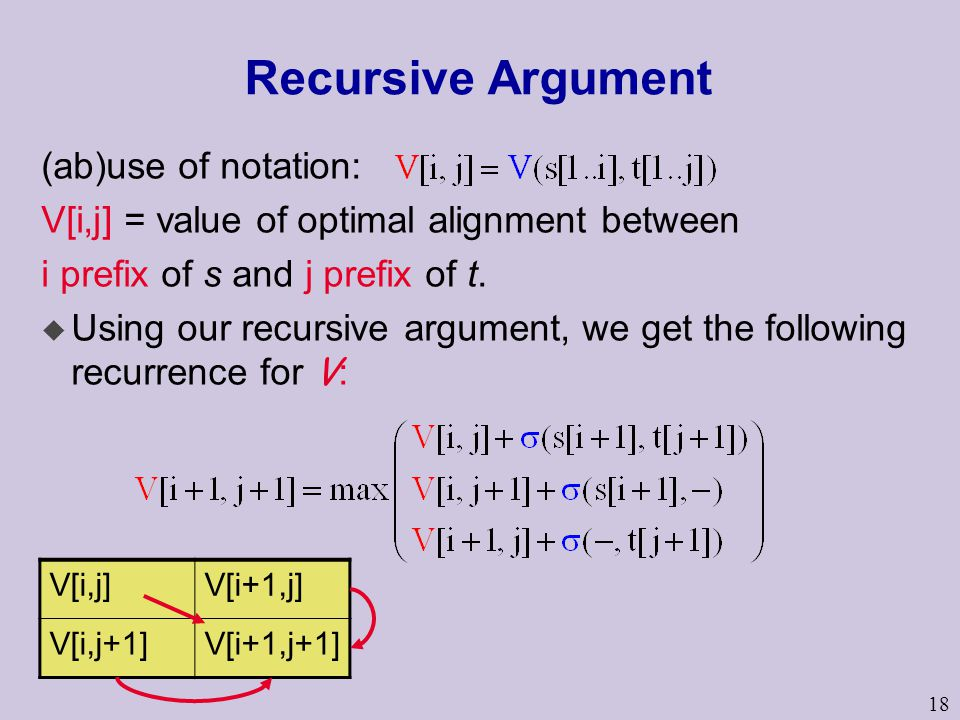 18 Recursive Argument (ab)use of notation: V[i,j] = value of optimal alignment between i prefix of s and j prefix of t.  Using our recursive argument