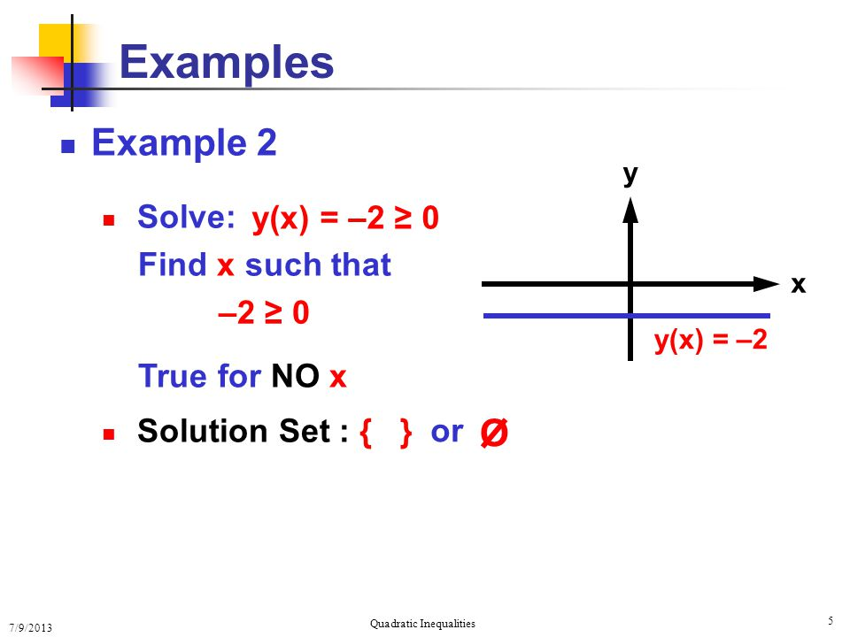 7/9/2013 Quadratic Inequalities 5 Examples Example 2 Solve: Find x such that True for NO x Solution Set : { } y(x) = –2 ≥ 0 y x y(x) = –2 –2 ≥ 0 or O