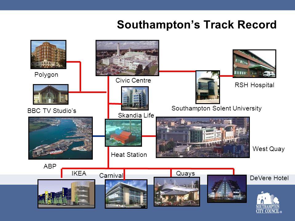 Southampton's Track Record BBC TV Studio's RSH Hospital Civic Centre Southampton Solent University Skandia Life DeVere Hotel Quays Heat Station IKEA C