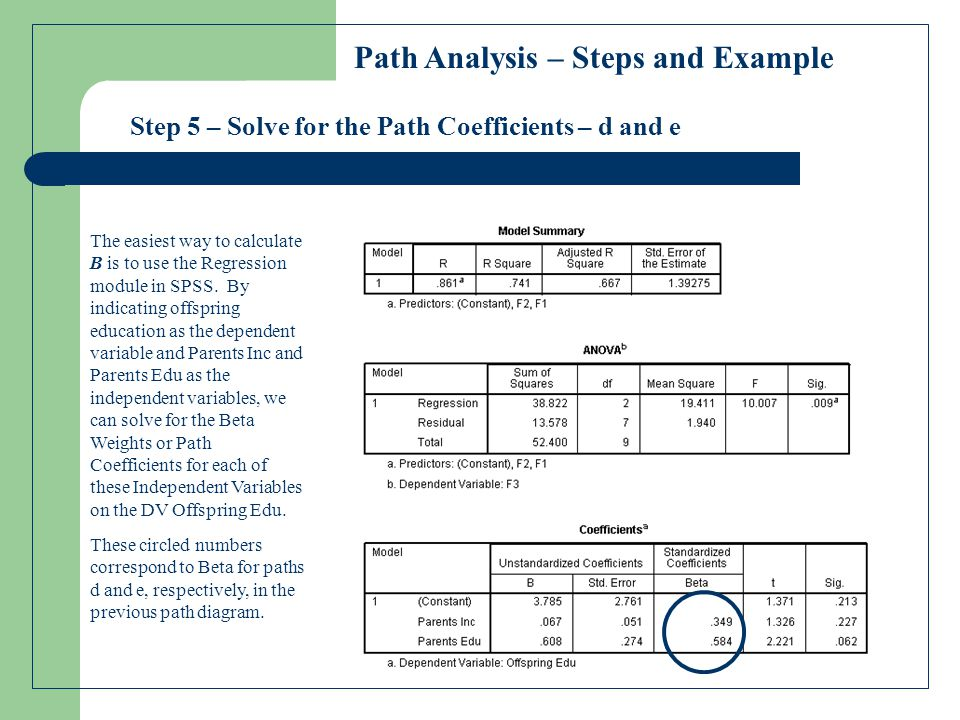 Step 5 – Solve for the Path Coefficients – d and e Path Analysis – Steps and Example The easiest way to calculate B is to use the Regression module in SPSS.