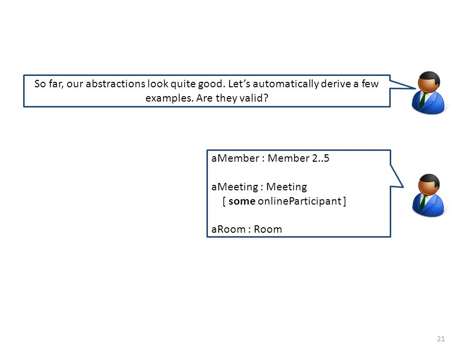21 aMember : Member 2..5 aMeeting : Meeting [ some onlineParticipant ] aRoom : Room So far, our abstractions look quite good.