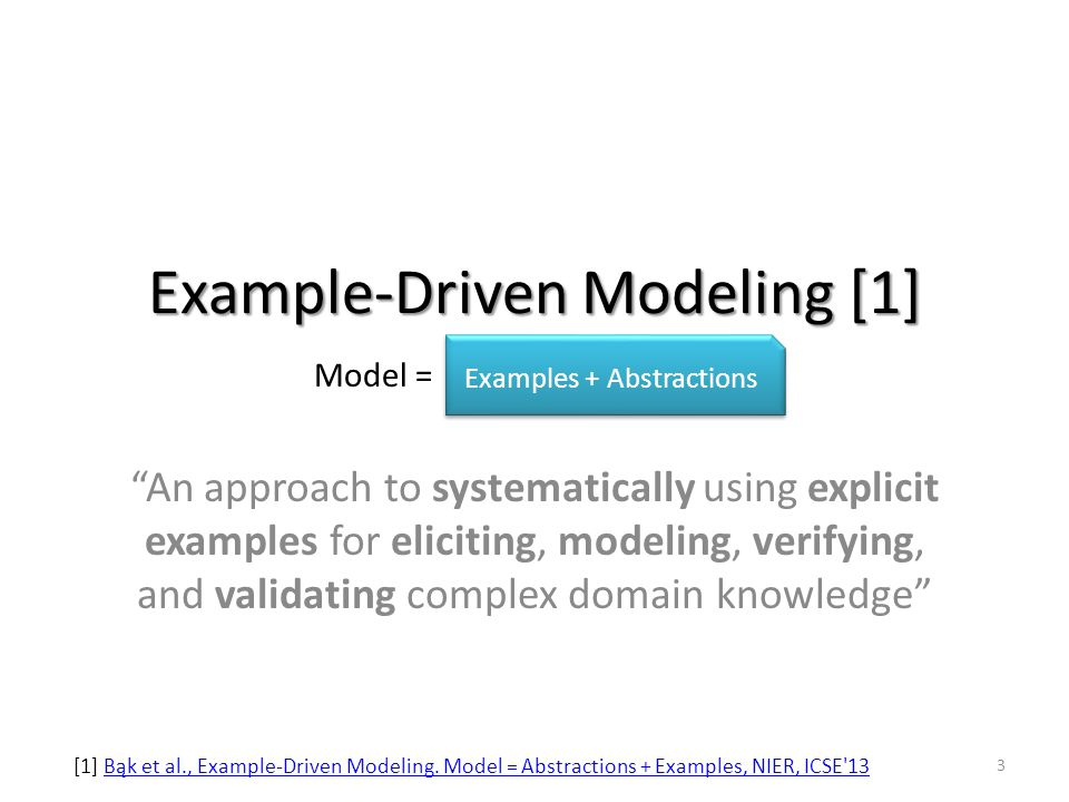 Example-Driven Modeling [1] An approach to systematically using explicit examples for eliciting, modeling, verifying, and validating complex domain knowledge Examples + Abstractions Model = [1] Bąk et al., Example-Driven Modeling.