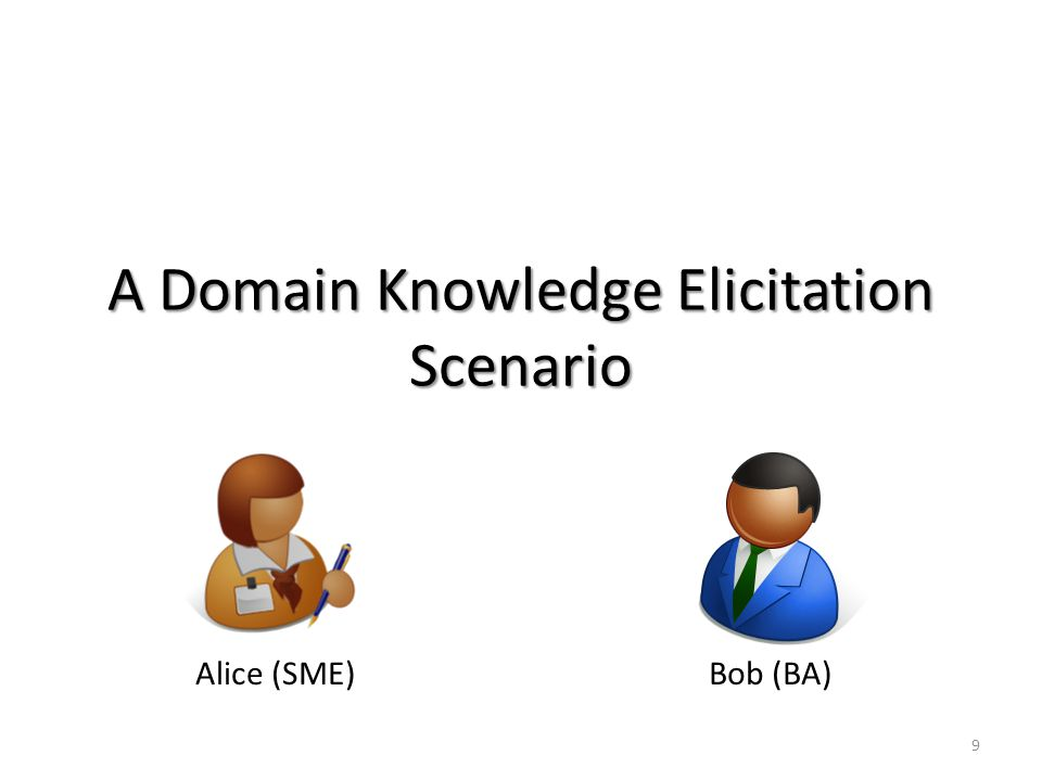 A Domain Knowledge Elicitation Scenario Alice (SME)Bob (BA) 9