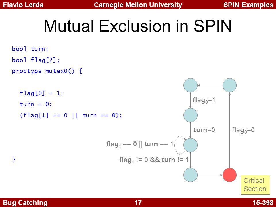 17 Carnegie Mellon UniversitySPIN ExamplesFlavio Lerda Bug Catching15-398 Mutual Exclusion in SPIN flag 0 =1 turn=0 flag 1 == 0 || turn == 1 flag 1 != 0 && turn != 1 flag 0 =0 Critical Section bool turn; bool flag[2]; proctype mutex0() { flag[0] = 1; turn = 0; (flag[1] == 0 || turn == 0); }