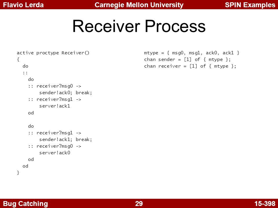 29 Carnegie Mellon UniversitySPIN ExamplesFlavio Lerda Bug Catching15-398 Receiver Process active proctype Receiver() { do :: do :: receiver?msg0 -> sender!ack0; break; :: receiver?msg1 -> server!ack1 od do :: receiver?msg1 -> sender!ack1; break; :: receiver?msg0 -> server!ack0 od } mtype = { msg0, msg1, ack0, ack1 } chan sender = [1] of { mtype }; chan receiver = [1] of { mtype };