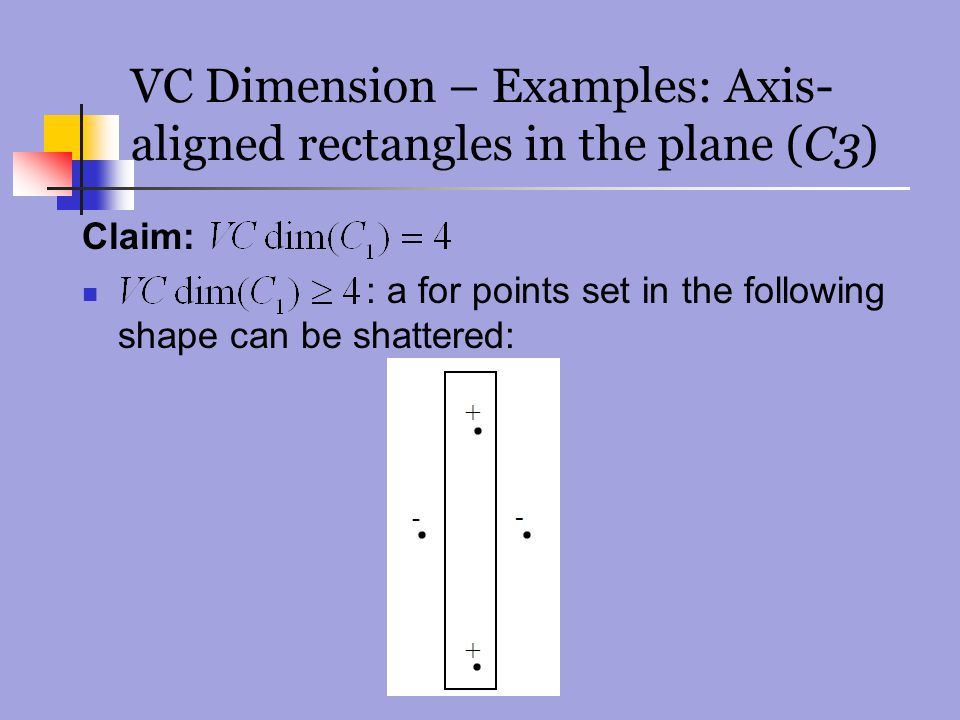 VC Dimension – Examples: Axis- aligned rectangles in the plane (C3) Claim: : a for points set in the following shape can be shattered: