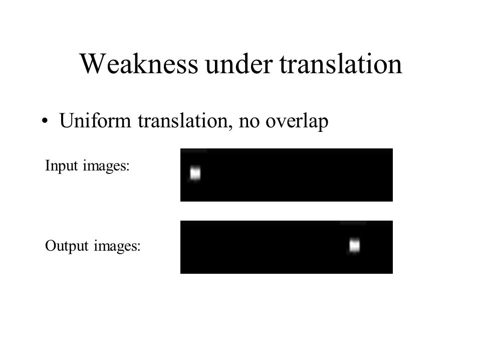 Weakness under translation Uniform translation, no overlap Input images: Output images: