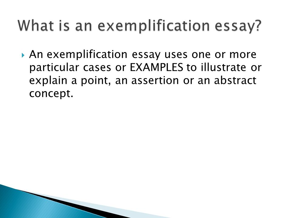 Exemplification Essay Example