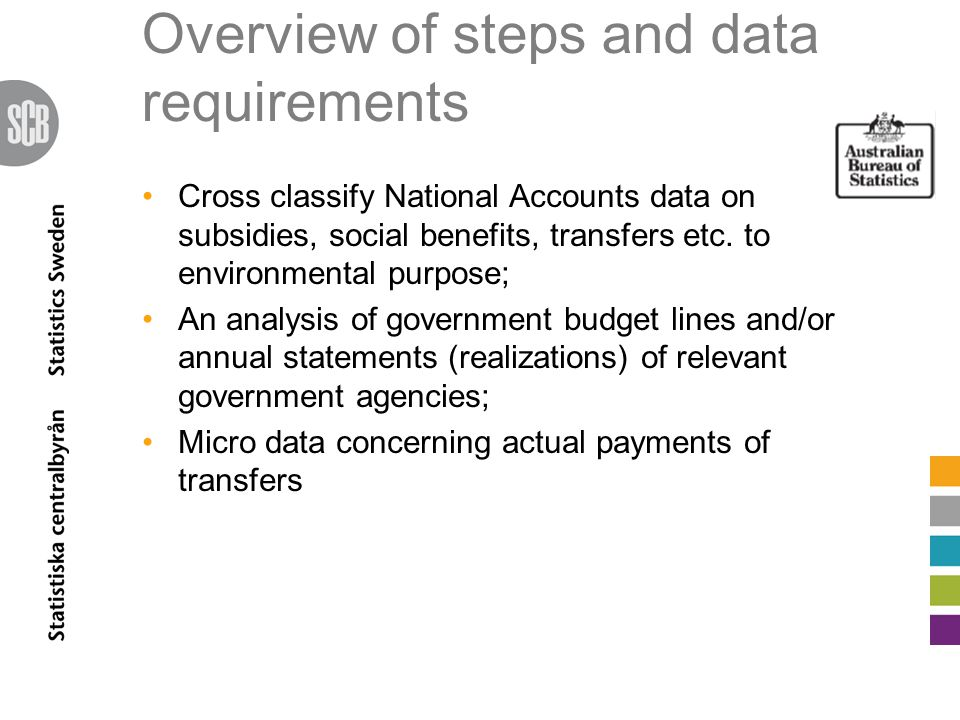 Overview of steps and data requirements Cross classify National Accounts data on subsidies, social benefits, transfers etc.