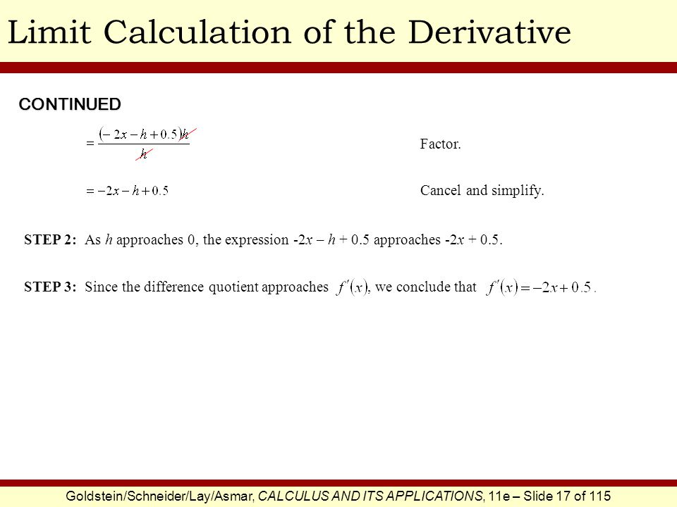Goldstein/Schneider/Lay/Asmar, CALCULUS AND ITS APPLICATIONS, 11e – Slide 17 of 115 Limit Calculation of the Derivative Factor. CONTINUED Cancel and s