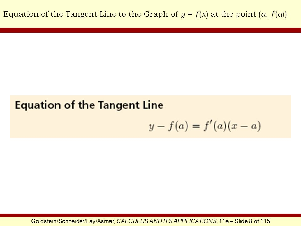 Goldstein/Schneider/Lay/Asmar, CALCULUS AND ITS APPLICATIONS, 11e – Slide 8 of 115 Equation of the Tangent Line to the Graph of y = f ( x ) at the poi