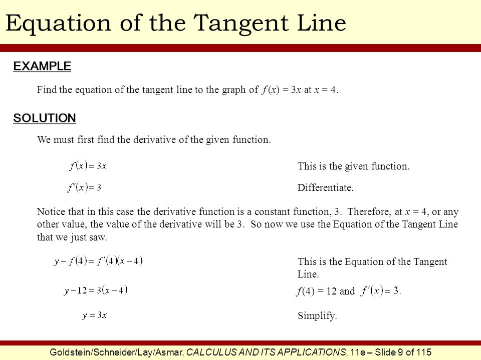 Goldstein/Schneider/Lay/Asmar, CALCULUS AND ITS APPLICATIONS, 11e – Slide 9 of 115 Equation of the Tangent LineEXAMPLE SOLUTION Find the equation of t