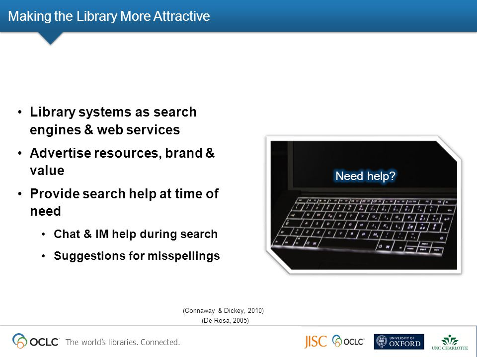 The world's libraries. Connected. Making the Library More Attractive Library systems as search engines & web services Advertise resources, brand & val