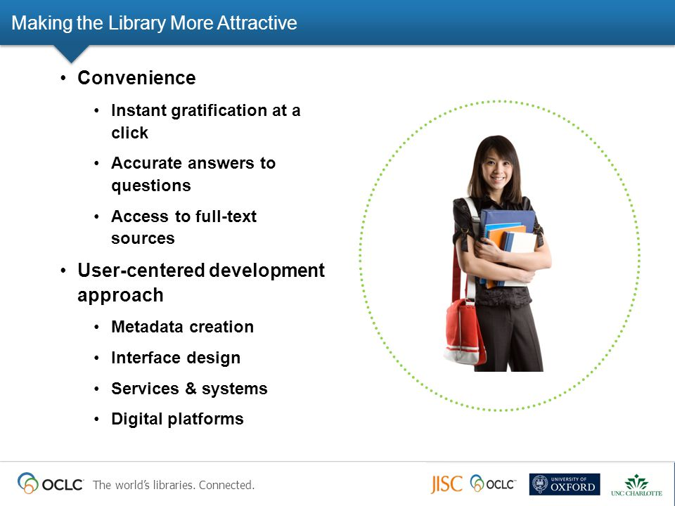 The world's libraries. Connected. Making the Library More Attractive Convenience Instant gratification at a click Accurate answers to questions Access