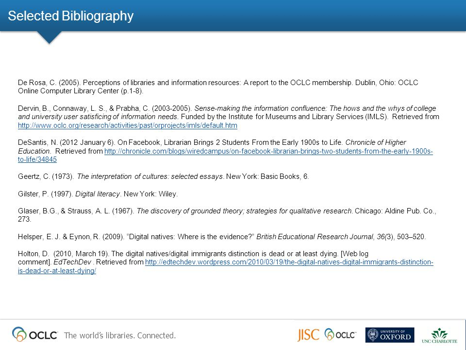 The world's libraries. Connected. Selected Bibliography De Rosa, C. (2005). Perceptions of libraries and information resources: A report to the OCLC m