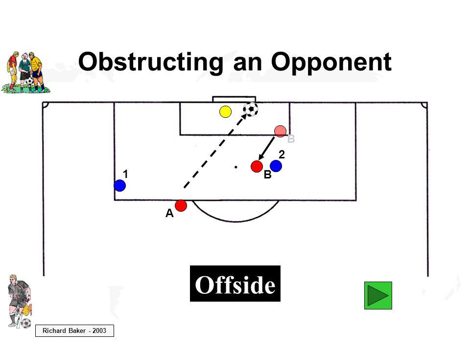 Richard Baker - 2003 Obstructing an Opponent B A 1 2 B Offside