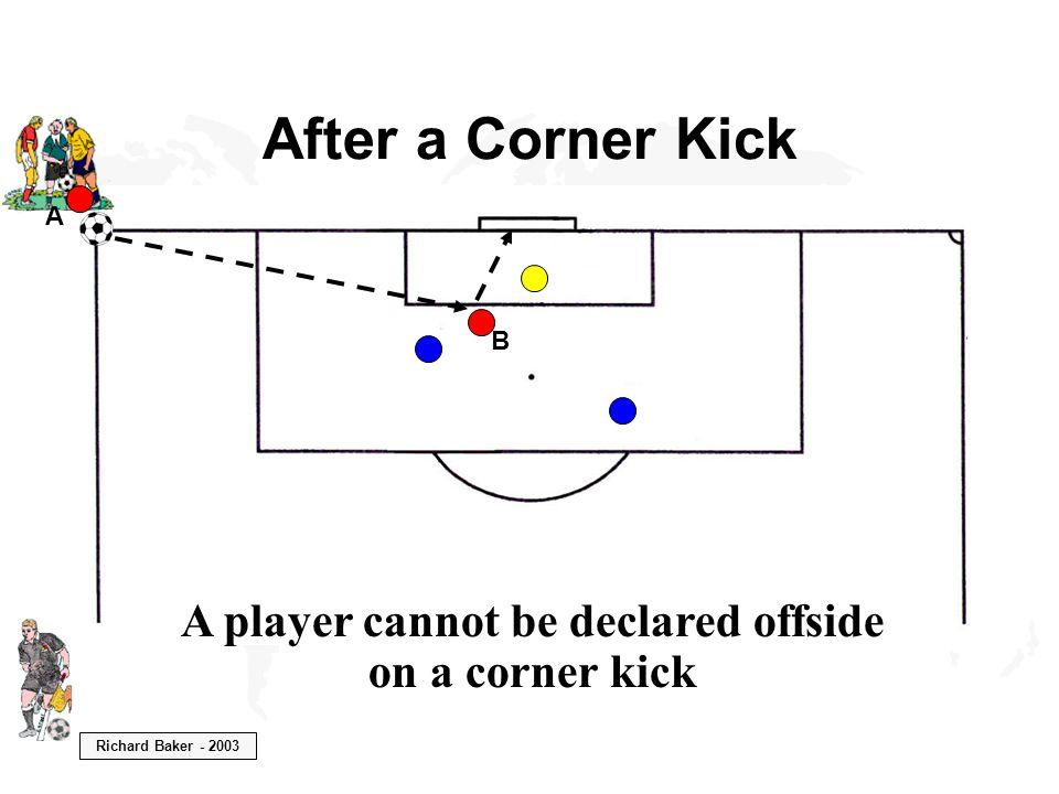 Richard Baker - 2003 After a Corner Kick A player cannot be declared offside on a corner kick B A