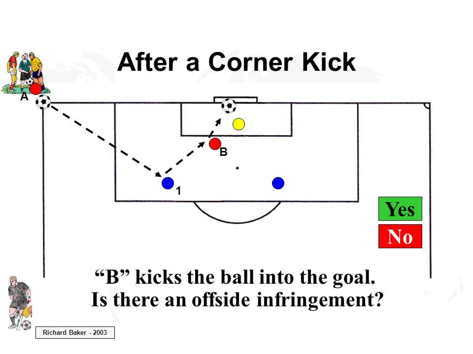 Richard Baker - 2003 Yes After a Corner Kick B kicks the ball into the goal.