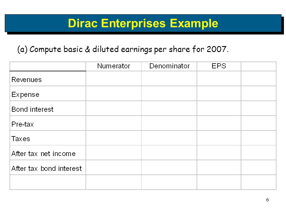 6 Dirac Enterprises Example (a) Compute basic & diluted earnings per share for 2007.